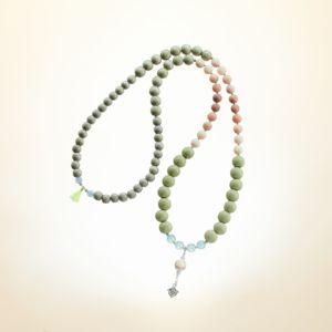Boho Deluxe Kette mit Perlen aus Sterlingsilber, Jade (frosted), Achat, Holz (taupe) und Mini-Quaste
