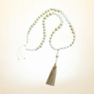 Boho Deluxe Kette mit Perlen aus vergoldetem Sterlingsilber, Opal, Achat, natürlichem Fossil, Holz (natur) und Quaste.