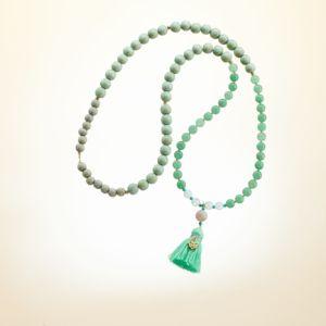 Boho Deluxe Kette mit Perlen aus vergoldetem Sterlingsilber, Aventurin, Opal, Holz (mintgrün + taupe) und Quaste
