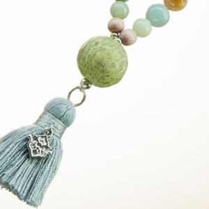 Boho Deluxe Kette mit Perlen aus Sterlingsilber, Amazonit, Holz (rosé), Reptiloptik und Quaste