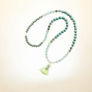 Boho Deluxe Kette mit Perlen aus Sterlingsilber, Fluorit, Labradorit, Holz (eisblau + grau), Jade und Quaste