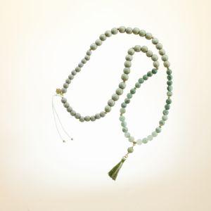 Boho Deluxe Kette mit Perlen aus vergoldetem 925 Sterlingsilber, Achat, Holz (taupe) und Quaste.