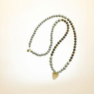 Boho Deluxe Kette mit Perlen aus vergoldetem 925 Sterlingsilber, Eichenjaspis, Holz (taupe) und Anhänger