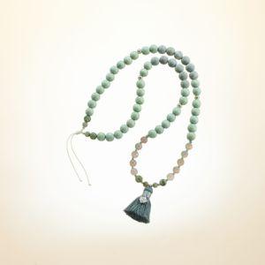 Boho Deluxe Kette mit Perlen aus 925 Sterlingsilber, Jaspis (frosted), Achat, Holz (mintgrün), Labradorit und Quaste.