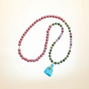 Boho Deluxe Kette mit Perlen aus vergoldetem 925 Sterlingsilber, afrikanischem Türkis, Fluorit, Holz (blush) und Quaste