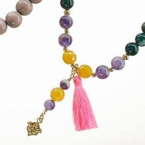 Boho Deluxe Kette mit Perlen aus vergoldetem 925 Sterlingsilber, Achat, Amethyst, Holz (sand) und Quaste.