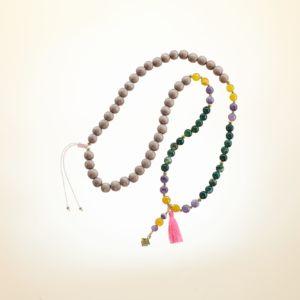 Boho Deluxe Kette mit Perlen aus vergoldetem 925 Sterlingsilber, Achat, Amethyst, Holz (sand) und Quaste