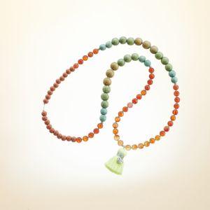 Boho Deluxe Kette mit Perlen aus 925 Sterlingsilber, Sardonyx, verschiedenfarbigem Holz und Quaste