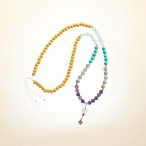 Boho Deluxe Kette mit Perlen aus 925 Sterlingsilber, verschiedenen Edelsteinen und Holz (gelb).