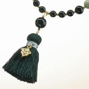 Boho Deluxe Kette mit Perlen aus vergoldetem 925 Sterlingsilber, Silber Jaspis, Onyx, Holz (schwarz) und Quaste