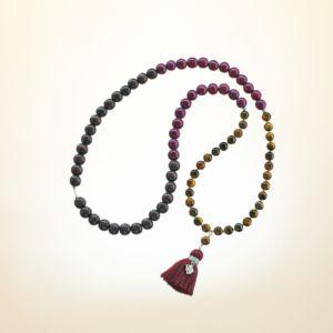 Boho Deluxe Kette mit Perlen aus 925 Sterlingsilber, Tigerauge, Holz (berry + dunkelbraun) und Quaste