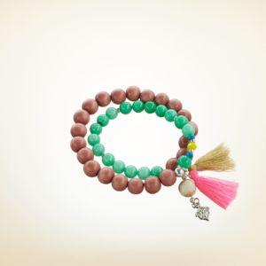 Mala Armband zweifach auf Elastikband mit Perlen aus 925 Sterlingsilber, Türkis, Holz (terracotta), verschiedenen Edelsteinen und Quasten
