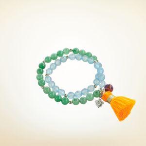 Mala Armband zweifach auf Elastikband mit Perlen aus 925 Sterlingsilber, Aventurin, Achat und Quaste
