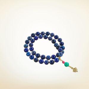 Mala Armband zweifach auf Elastikband mit Perlen aus vergoldetem 925 Sterlingsilber, Lapislazuli und Türkis