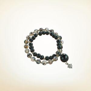 Mala Armband zweifach auf Elastikband mit Perlen aus 925 Sterlingsilber, Drachen Achat, Holz (schwarz) und facettierter Achatperle