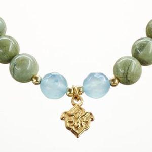 Mala Armband auf Elastikband mit Perlen aus vergoldetem 925 Sterlingsilber, Silber Jaspis und Achat