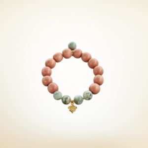 Mala Armband auf Elastikband mit Perlen aus vergoldetem 925 Sterlingsilber, Holz (terracotta) und Baumachat