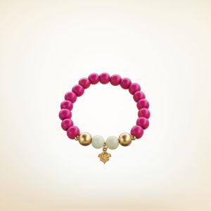 Mala Armband auf Elastikband mit Perlen aus vergoldetem 925 Sterlingsilber, Holz (pink) und natürlichem Fossil