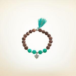 Mala Armband auf Elastikband mit Perlen aus 925 Sterlingssilber, Zebra Jaspis, Türkis und Quaste