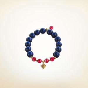 Mala Armband auf Elastikband mit Perlen aus vergoldetem 925 Sterlingsilber, Holz (dunkelblau) und Achat