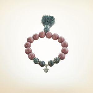 Mala Armband auf Elastikband mit Perlen aus 925 Sterlingssilber, Holz (rotbraun) und Labradorit