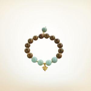 Mala Armband auf Elastikband mit Perlen aus vergoldetem 925 Sterlingssilber, Holz (braun) und Amazonit