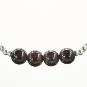 Pure Jewels Armband auf Elastikband mit Perlen aus 925 Sterlingsilber und Granat