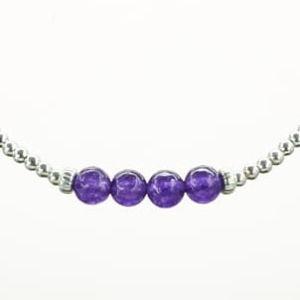 Pure Jewels Armband auf Elastikband mit Perlen aus 925 Sterlingsilber und Amethyst