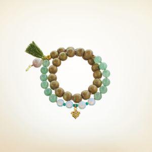 Mala Armband zweifach auf Elastikband mit Perlen aus vergoldetem 925 Sterlingsilber, Aventurin, Opal, Holz (olive), Türkis und Quaste