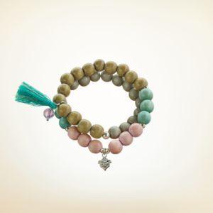 Mala Armband zweifach auf Elastikband mit Perlen aus 925 Sterlingsilber verschiedenfarbigem Holz und Quaste
